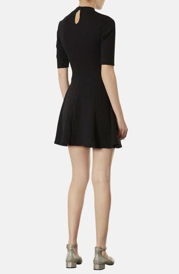 Alternate Image 2  - Topshop Mock Neck Textured Skater Dress