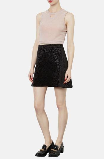 Alternate Image 4  - Topshop Animal Pattern Velvet A-Line Skirt