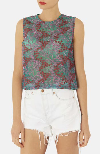 Alternate Image 1 Selected - Topshop Floral Embroidered Shell