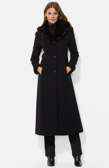 Lauren Ralph Lauren Faux Fur Shawl Collar Long Wool Blend