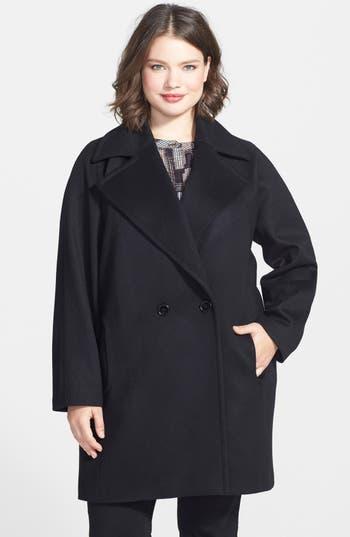 Kristen Blake Double Breasted Lambswool Blend Coat Plus