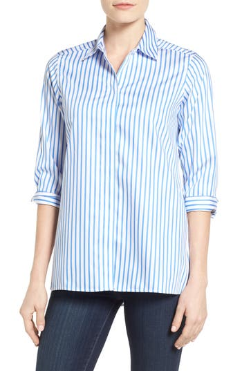 Foxcroft Gigi Non-Iron Stripe Sateen Tunic Shirt