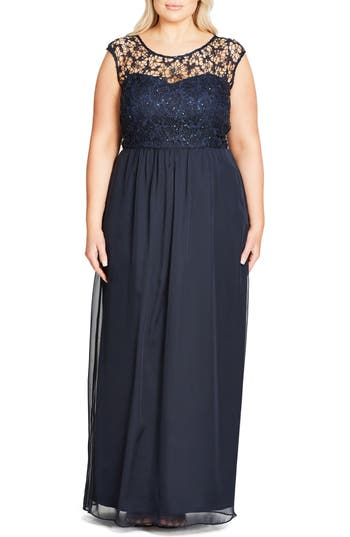 City Chic Sequin Lace Gown