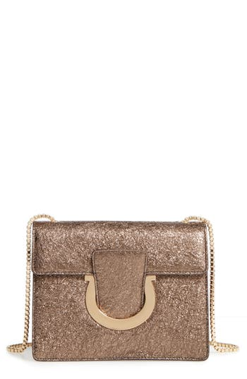Salvatore Ferragamo Small Metallic Leather Chain Shoulder Bag