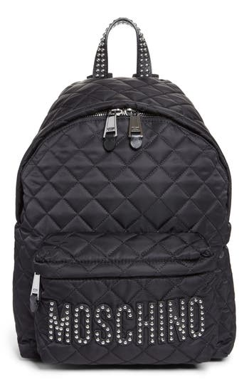 Moschino Studded Logo Quilted Nylon Backpack