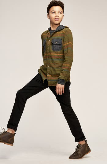 TUCKER + TATE Hooded Woven Shirt