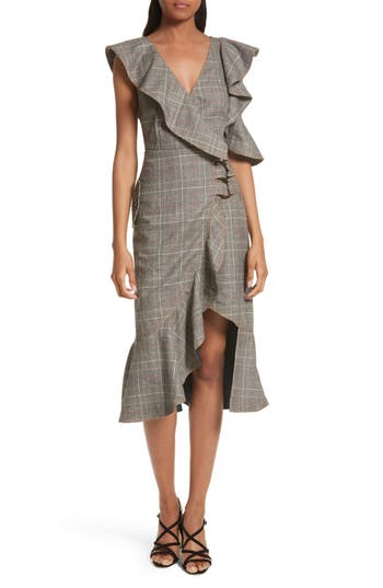 Self-Portrait Check Wool Faux Wrap Dress