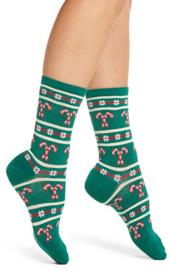 Hot Sox Candy Cane Stripe Crew Socks (3 for $15)
