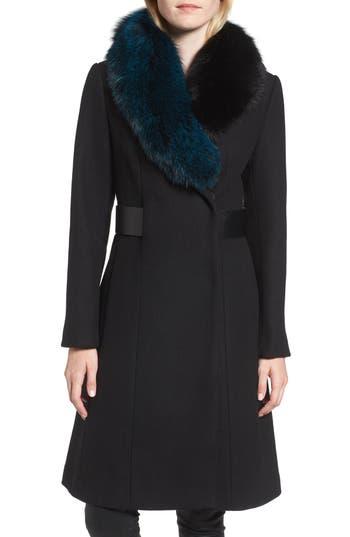 1 Madison Wool Blend Jacket with Genuine Fox Fur Trim