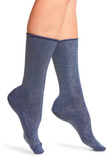 Hue Metallic Roll Top Socks