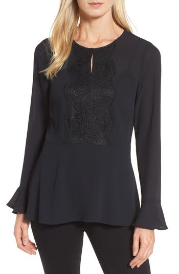 Chaus Lace Trim Bell Sleeve Top