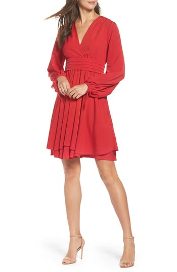Eliza J Tie Sleeve Fit & Flare Dress (Regular & Petite)