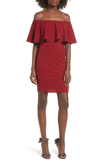 Soprano Ruffle Off the Shoulder Body-Con Dress