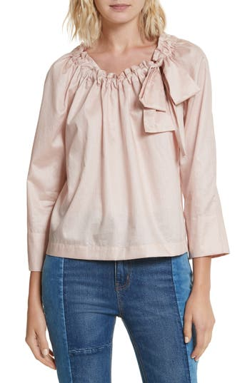 La Vie Rebecca Taylor Bow Neck Washed Sateen Top