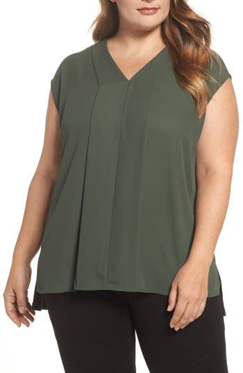 Vince Camuto Mixed Media V-Neck Top (Plus Size)