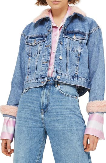 Topshop Tilda Faux Fur Crop Denim Jacket