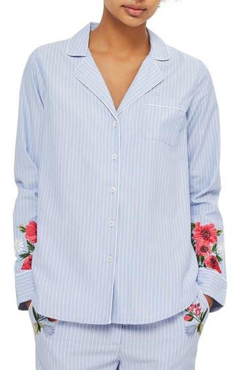 Topshop Floral Embroidered Stripe Nightshirt
