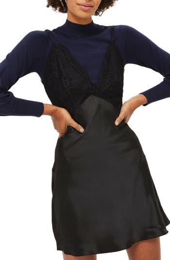Topshop Hybrid Slip & Sweater Dress