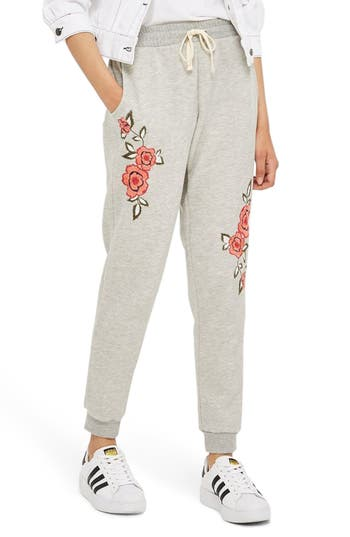 Topshop Floral Embroidered Jogger Lounge Pants