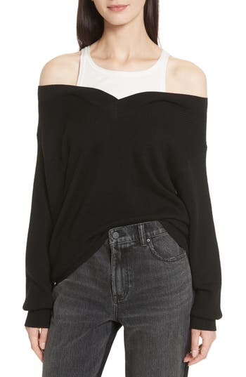 T by Alexander Wang Bi-Layer Off-the-Shoulder Sweater with Inner Tank