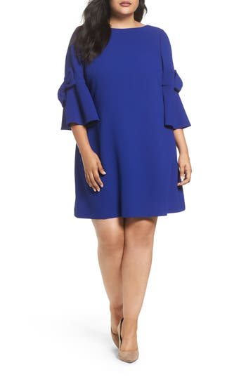 Eliza J Bow Bell Sleeve Shift Dress (Plus Size)