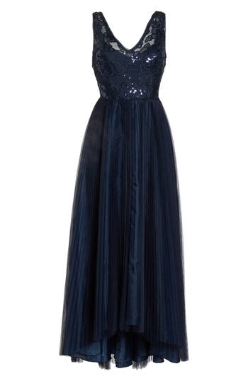 Adrianna Papell Sequin Pleated Tulle High/Low Gown