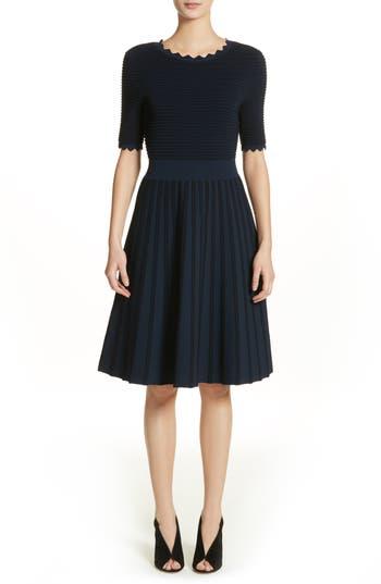 Scallop Trim Stripe Dress by Lela Rose