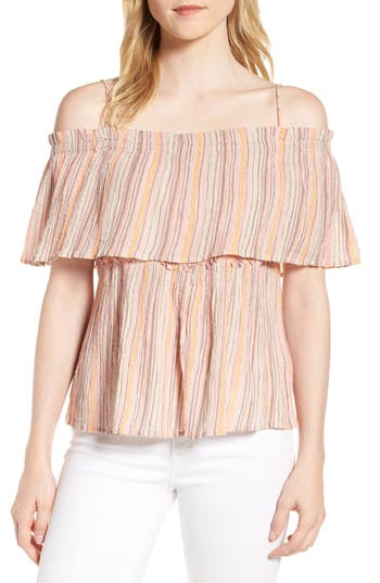 Lucky Brand Metallic Stripe Crinkled Top