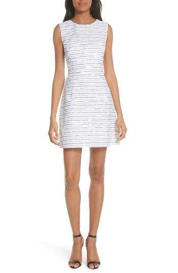 Stripe Floral Burnout Cotton Blend Sheath Dress by Milly