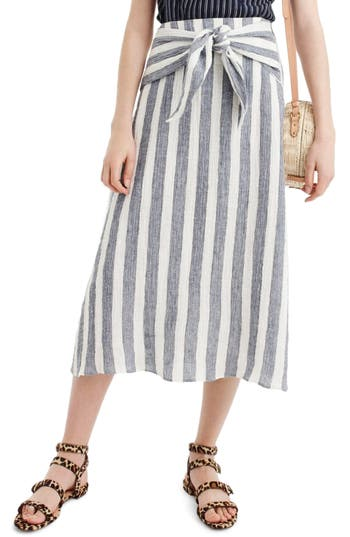J.Crew Point Sur Nautical Stripe Tie Waist Linen Skirt by J. Crew