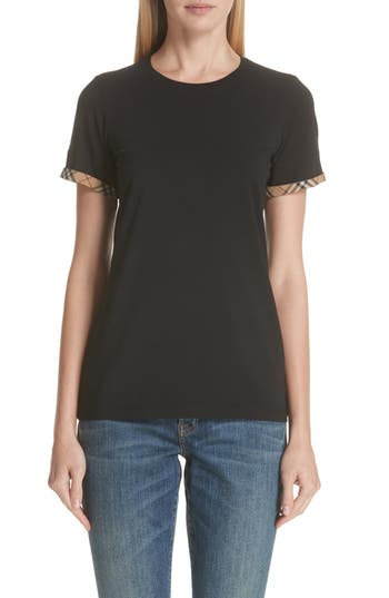 Kabini Check Cuff Stretch Cotton Tee by Burberry
