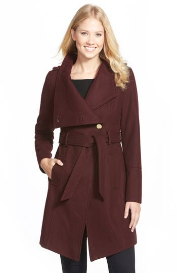 Guess Belted Asymmetrical Wool Blend Trench Coat Nordstrom
