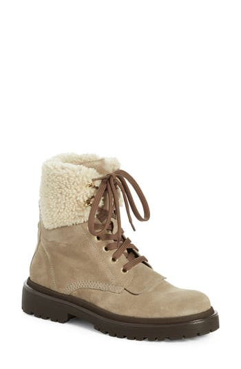 Moncler 'Patty Scarpa' Genuine Shearling Trim Ankle Boot (Women)