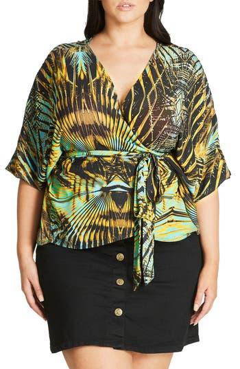 City Chic Jungle Print Wra..
