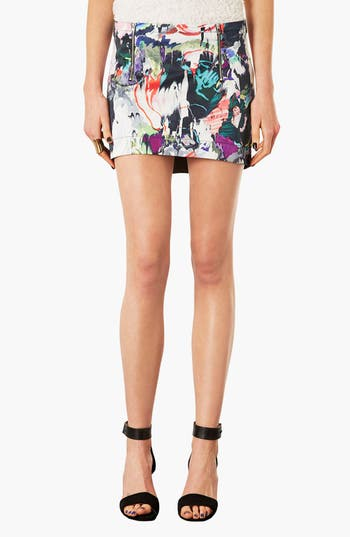 Main Image - Topshop Marble Print High/Low Skirt