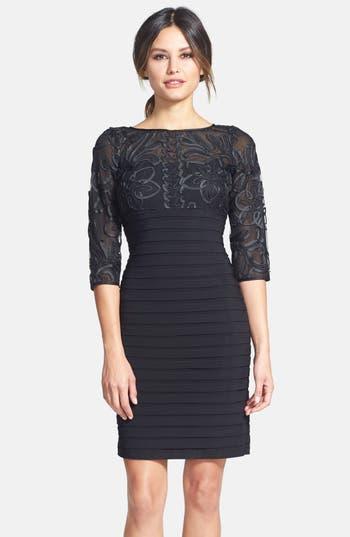 Adrianna Papell Soutache Shutter Pleat Sheath Dress (Regular & Petite)