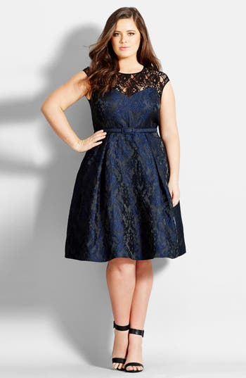 City Chic Lace Neck Brocad..