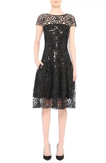 Sequin Cutout Fit & Flare Dress, video thumbnail
