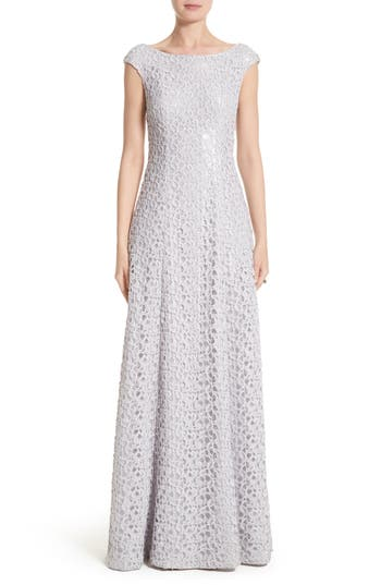 St. John Evening Gita Guipure Lace Gown
