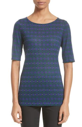 St. John Collection Chain Link Print Jersey Top