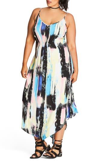 City Chic Soft Smudge Print Maxi Dress (Plus Size)