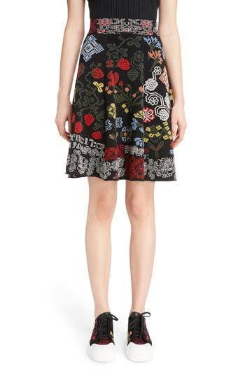 Alexander McQueen Cross Stitch Jacquard Skirt
