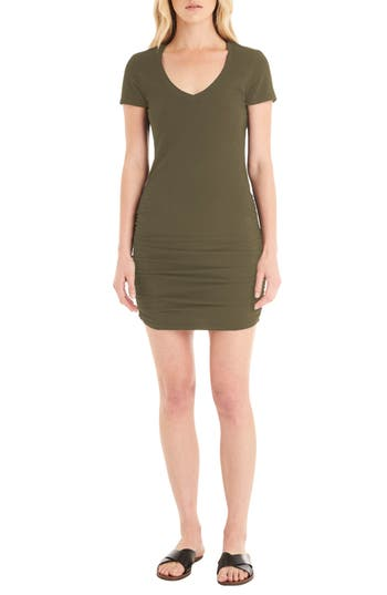 Michael Stars Ruched V-Neck Jersey Minidress
