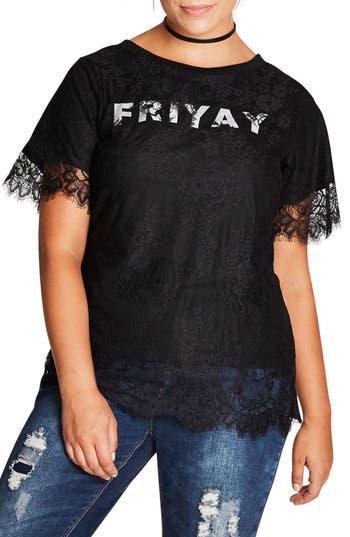 City Chic Friyay Lace Top ..
