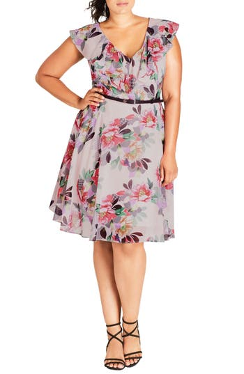 City Chic Romance Ruffle Floral Fit & Flare Dress (Plus Size)