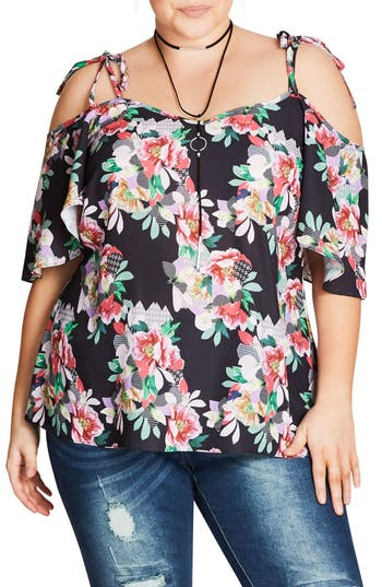 City Chic Sheer Paradise Top (Plus Size)