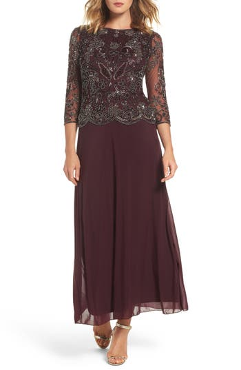 Pisarro Nights Embellished Bodice Overlay Gown