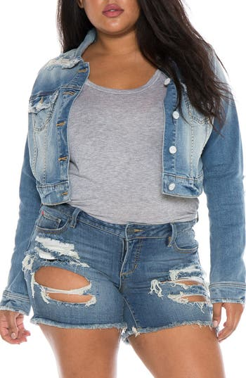 SLINK Jeans Crop Denim Jacket (Plus Size)