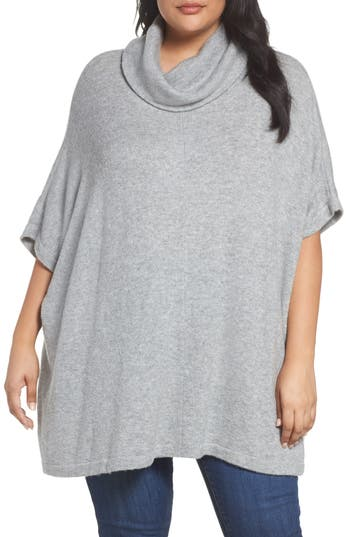Caslon® Turtleneck Poncho Sweater (Plus Size)