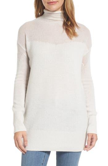 Halogen® Sheer Yoke Cashmere Sweater